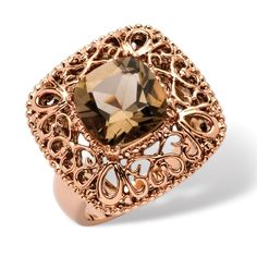 3.30 TCW Princess-Cut Smoky Quartz Filigree Cocktail Ring in Rose Ion-Plated at Viomart.com