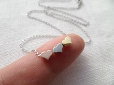 Tiny 3 hearts necklaces gold silver and rose gold hearts on Jewelry Accessories, Jewelry Design, Beading Tutorials, Bridesmaid Jewelry, Rose Gold Plates, Heart Charm, Arrow Necklace, Chain, Silver