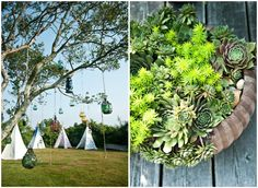 teepees and plants and things hanging from trees.