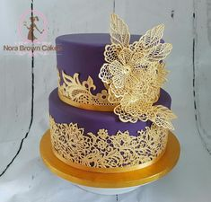 Purple and Gold lace wedding cake by Nora Brown Cakes  - http://cakesdecor.com/cakes/276375-purple-and-gold-lace-wedding-cake