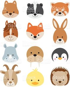 Vector illustration of animal faces including squirrel, hamster, skunk, red… Animal Faces, Animal Heads, Felt Animals, Cute Animals, Safari Animals, Face Illustration, Hedgehog Illustration, Hamster, Gerbil