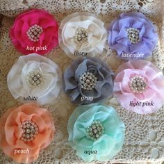 FLOWERSRhinestone and Pearl CenterYour CHOICE  of by frogfeathers, $5.69- Would love to make these, need chiffon fabric , pearl  and rhinestone centers and Skill!!