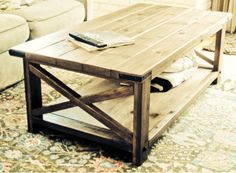 Rustic Farmhouse Coffee Table by LewberryWoodDesign on Etsy, $400.00
