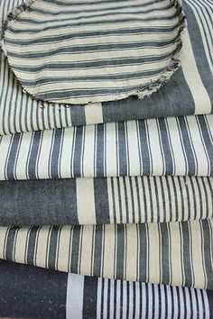 Antique and Vintage French Ticking fabrics / materials  collection for cutting projects ~