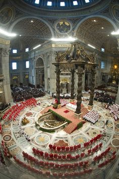 Cardinals, in red, attend a Mass for the election of a new pope celebrated by Cardinal Angelo Sodano inside St Peter's Basilica, at the Vatican Vatican City Rome, Vatican Tours, Sistine Chapel Ceiling, New Pope, St Peters Basilica, Cathedral Church, Roman Catholic, Kirchen, Architecture
