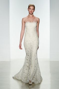 "Amsale Spring 2015 ""Carter"" gown. Corded lace slim fit to flare gown with silk chiffon underlay. #lace"