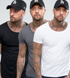 ASOS T-Shirt With Scoop Neck 3 Pack SAVE - Multi