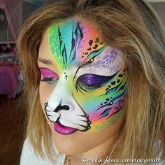 This girl @ashleyshiver917 #neoncat #facepaint #makeup #mua #facepainter…