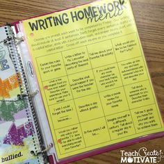 Easy Writing Homework - FREEBIE!