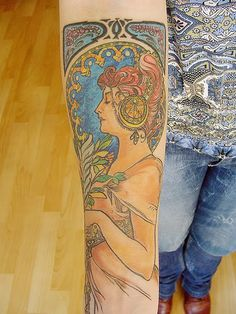 alphonse mucha Nouveau tattoo