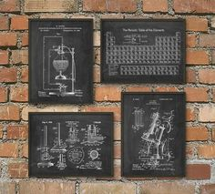 Science Patent Prints Set of 4 - Chemistry Wall Art - Periodic Table Microscope Laboratory Equipment Poster Set Of 4 - Chemist Gift Idea