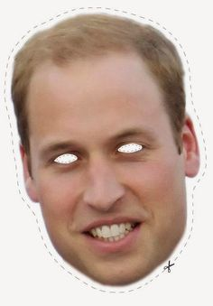 Free Prince William Cut Out Printable Mask British Themed Parties, British Party, Printable Masks, Free Printables, Henna Designs, Harry Wedding, London Party, English Royal Family, Purple Cards