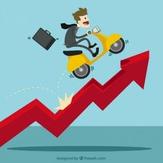 Businessman with a scooter over growing chart