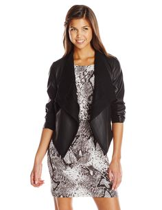 $98.00 - $120.00  BB Dakota Women's Tamela Faux Leather Drape Front Jacket, Black, X-Small