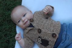 Undyed Alpaca Baby Sweater with Owl Motif by alpacakids on Etsy, $120.00