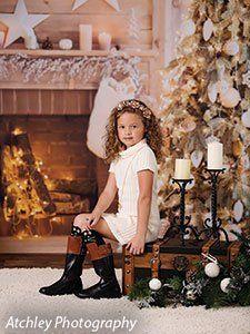 Warm Toned Christmas Backdrop For Christmas Portraits