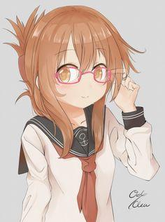 Anime,аниме,Kantai Collection,KanColle,Inazuma (Kantai Collection),odeclea,Anime Art,Аниме арт, Аниме-арт,Megane