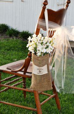 Burlap Bag with Handle, Natural Brown Hanging Sack, Burlap Purse, Wedding Pew Decoration via Etsy