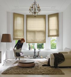 Soft, natural Roman shades beautifully frame this classic window. Home Comforts, Family Room, Home, Window Decor, Window Styles, Indoor Blinds, White Walls, Interior Design, Indoor Window