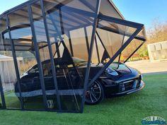 #albatross 2 big fan for 2 openings... #easytoinstall #easytosetup #gazebox #luxurycarport #luxurycarports more info at www.gazebox.it Modern Gazebo, Portable Garage, Outdoor Gear, Tent, Big, Portable Carport, Store, Tents