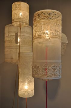 these beautiful lace lamp would be perfect in a little girl's bedroom Handmade Lanterns, Creation Deco, Paper Lanterns, Lamp Shades, Creative, Diy And Crafts, Diy Projects, Crafty, Inspiration