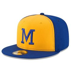a55410e714c Men s Milwaukee Brewers New Era Yellow Turn Back The Clock 59FIFTY Fitted  Hat