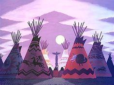 Film: Peter Pan ===== Scene: The Indian Village ===== Artist: Mary Blair