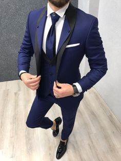 Lazio Sax Tuxedo Suit - Tuxedo - Ideas of Tuxedo - Size : EU PolyesterMachine washable : NoFitting : Regular Slim-fitRemarks: Dry Cleaning OnlySeason : 2019 Spring Wedding Season Prom Suits For Men, Dress Suits For Men, Men Wedding Suits, Tuxedo Wedding, Men Wedding Fashion, Trendy Suits For Men, Suit For Men, Vintage Wedding Suits, Prom Tuxedo