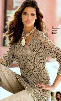 Motivos Redondos túnica. http://www.pinterest.com/mariademaria908/crochet-fashion/