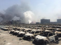 New cars destroyed by the explosion at Tianjin China August http://ift.tt/1Eb0XNv
