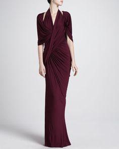 Draped Capelet Gown - Donna Karan -   Neiman Marcus