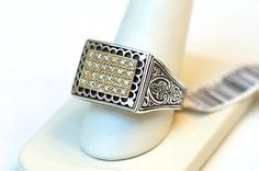 New Konstantino Mens 18k Gold, Silver and Diamond Ring Size 11 $1380