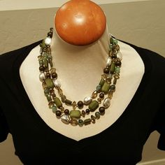 """Premier Designs Necklace Very stylish. Silver and matte silver plated, acrylic & glass beads. 16"""" three strand necklace.  4"""" removable extender with lobster claw.  16 1/2"""" removable strand for a 3-in-1 necklace. Premier Designs  Jewelry Necklaces"""