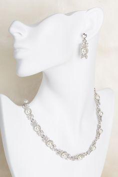 LILLIAN komplet biżuterii ślubnej, biżuteria wieczorowe, komplet biżuterii cyrkonie, naszyjnik ślubny i kolczyki ślubne od BSHBridal Pearl Necklace, Jewelry, Fashion, String Of Pearls, Moda, Jewlery, Jewerly, Fashion Styles, Schmuck
