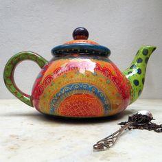 All my hand made ceramics are food safe Hand painted fine art ceramic Teapot Bright Colours Large Pottery Teapots, Ceramic Teapots, Ceramic Pottery, Pottery Art, Ceramic Artists, Ceramic Painting, Teapot Design, Teapots Unique, Ceramic Spoons