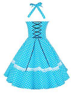 Maggie Tang Women's Halter 50s Vintage Polka Dots Housewife Rockabilly Swing Dress,Plus Size 2934634 2016 – $32.99
