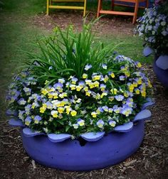 Here we present you the most amazing DIY projects for your garden improvement. Tire Garden, Garden Soil, Garden Beds, Garden Art, Garden Design, Tire Planters, Flower Planters, Container Plants, Container Gardening