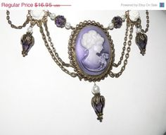 Victorian Purple Lady Cameo Crystal Floral Unique Necklace With Bronze Chain on Etsy, $15.26