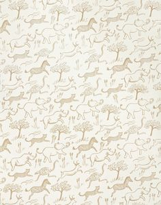 Overview A happy stampede of animals forms this flowing pattern - great for kids (and adults too)! Hand drawn zebras, gazelles, elephants, rhinos, ostriches, and cheetahs bring the adventure of the Af