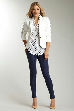 J Brand-white blazer, polka dot shirt, hot jeans - Women's fashion and clothing Passion For Fashion, Love Fashion, Autumn Fashion, Womens Fashion, Curvy Fashion, Looks Chic, Casual Looks, Casual Outfits, Cute Outfits