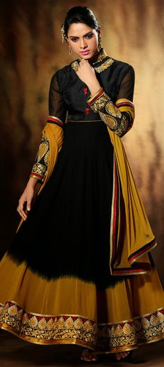 424090: POWER OF BLACK - in case you are a lover of #black color, have a look at this.   #anarkali #Partywear #wedding #Sale #onlineshopping #Dualtone #Weddingcouture #bridesmaid #indianfashion #indianwedding #weddingtheme