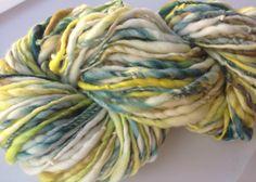 Handspun Yarn Thick and Thin LEMON JUBILEE -bulky merino, crochet knitting supplies baby prop yarn waldorf doll hair 125yds on Etsy, $39.95