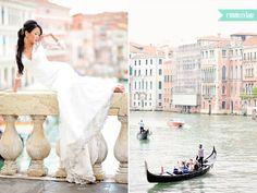 Delicate bride in Venice