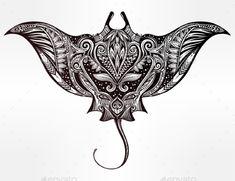 Buy Ornate Stingray Fish Illustration by itskatjas on GraphicRiver. Hand drawn vector cramp fish in Maori tribal ornament decor. Moana Tattoos, Ocean Tattoos, Body Art Tattoos, Small Tattoos, Tatto Design, Maori Tattoo Designs, Mandala Tattoo Design, Arm Tattoo, Sleeve Tattoos