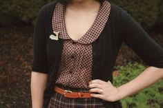 Cardigan, skirt, belt, blouse, collar, polka dots, plaid