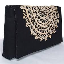 clutches - black lace flower