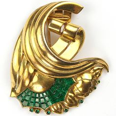 Trifari 'Alfred Philippe' Deco Gold Swirls and Bellflowers Invisibly Set Emeralds Pin Clip