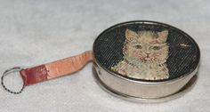 Antique Germany Cat Kitten Kitty Retractable Embroidery Tape Measure