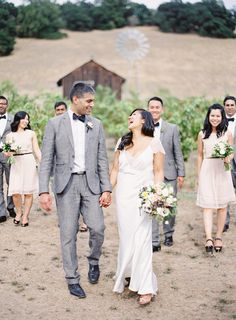 Wedding Party Attire -- Blush Pink + Gray with a little Black Accent || Tie in flowers with Anemones || See the wedding on SMP: http://www.StyleMePretty.com/2014/02/13/healdsburg-country-gardens-wedding/  The Great Romance