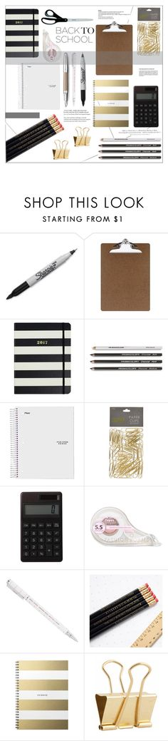 """Chic back to school supplies"" by rheeee ❤ liked on Polyvore featuring interior, interiors, interior design, home, home decor, interior decorating, Sharpie, Officemate, Kate Spade and Fountain"
